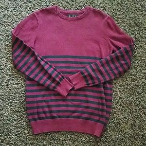 21MEN Ribbed Knit Striped Sweater